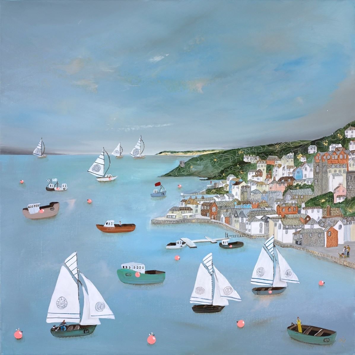 Blue Harbour by lucy young -  sized 24x24 inches. Available from Whitewall Galleries